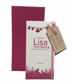 Geboortekaartje | letterpress  | 10 x 20 cm | 1 kleur | 'Waslijn Lisa' vanaf