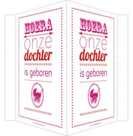Geboortebord/ raambord | Hoera dochter geboren | roze/rood vanaf