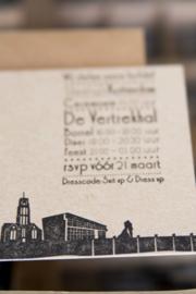 Trouwkaart | letterpress  | trouwstijl |  8 x 20 cm | 1 kleur  | 'Skyline Rotterdam' vanaf