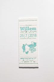 Geboortekaartje | letterpress  | 8 x 20 cm | 2 kleuren | 'Vintage wieg Willem' vanaf