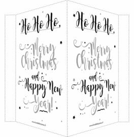 Kerstbord/raambord | Merry Christmas & Happy New Year |  zilver/zwart vanaf