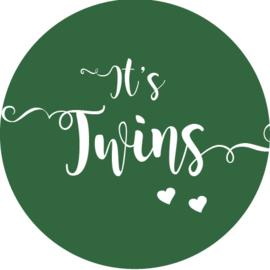 Geboorte sluitzegels | Tweeling | It's twins | donkergroen