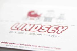 Geboortekaartje | letterpress  | 11 x 17cm | 2 keuren | 'Lego Lindsey vanaf