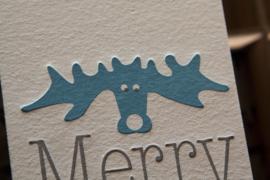 Kerstkaart | Moose | 600 gram | zilver/blauw