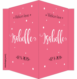 Geboortebord/ raambord | handlettering | dochter | donker roze vanaf