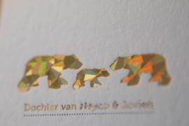Geboortekaartje   letterpress    10 x 20 cm   Folie druk   'Fleur/ijsbeer' vanaf