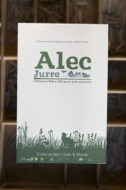 Geboortekaartje | letterpress  | 11 x 17cm | 2 keuren | ' Alec Gras' vanaf