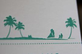 Trouwkaart | letterpress  | Trouwstijl  | 10 x 20 cm | 2 kleuren | 'Wij gaan trouwen 'beach stijl' Jorg & leonie' vanaf