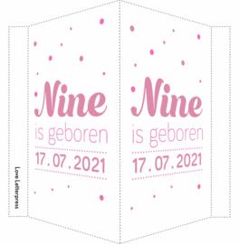 Geboortebord/ raambord | confetti | dochter | roze vanaf