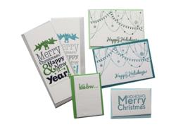 Kerstkaart en labels  | Set 'Happy Holidays'  | blauw/groen