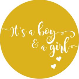 Geboorte sluitzegels | Tweeling | It's a boy & girl | okergeel