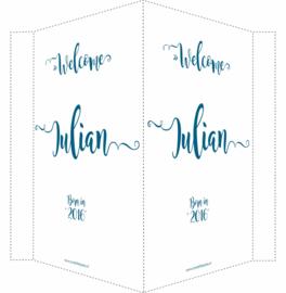 Geboortebord/ raambord |Welcome (handlettering) | naam | petrol blauw vanaf