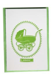 Kaart geboorte | Geboren vintage kinderwagen | groen