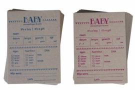 Babyshower | Baby voorspellingskaarten | Jongen/Meisje (set) | kraft