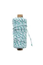 Twine touw | Bakkerstouw | donker groen (emrald)/wit