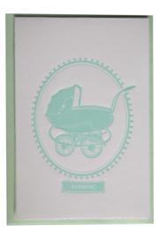 Kaart geboorte | Geboren vintage kinderwagen | mint
