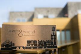 Trouwkaart | letterpress   |  8 x 20 cm | 1 kleur  | 'Skyline Utrecht' vanaf
