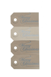 Kerst labels | Merry Christmas | zilver