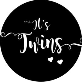 Geboorte sluitzegels | Tweeling | It's twins | zwart
