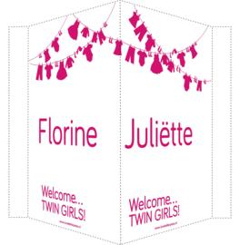 Geboortebord/ raambord | Tweeling waslijn meisjes | naam | roze vanaf