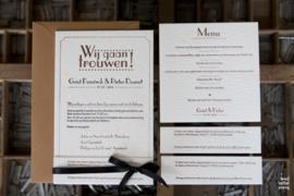 Trouwkaart | letterpress  | trouwstijl | 11 x 17 cm | 2 kleuren | 'Wij gaan trouwen Vintage' vanaf