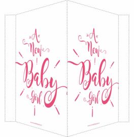 Geboortebord/ raambord | Newborn baby girl (handlettering) | roze vanaf