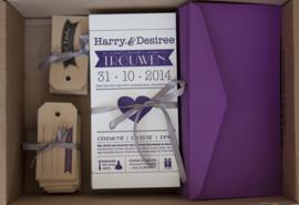 Trouwkaart | letterpress  | Trouwstijl | 10 x 20 cm | 1 kleur | 'Wij gaan trouwen | Harry & Desiree' vanaf