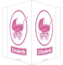 Geboortebord/ raambord | Vintage kinderwagen | naam| licht roze /roze vanaf