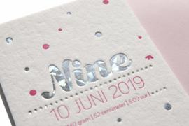 Geboortekaartje | letterpress  | 10 x 20 cm | Folie druk | 'Nine confetti' vanaf