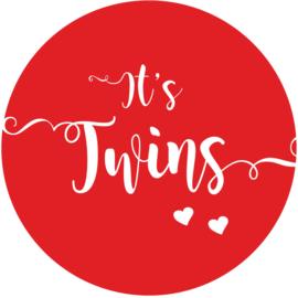 Geboorte sluitzegels | Tweeling |  It's twins | rood