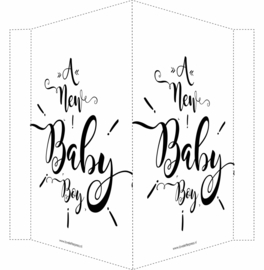 Geboortebord/ raambord | A newborn baby (handlettering) | zwart vanaf