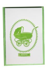 Kaart geboorte | Geboren vintage kinderwagen | groen dik