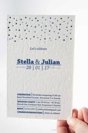 Trouwkaart | letterpress  | 11 x 17 cm | 1 kleur | 'Lets' Celebrate' vanaf