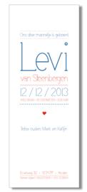Geboortekaartje | letterpress  | 8 x 20 cm | 2 kleuren  | 'lettertype dun | jongen' vanaf