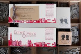 Trouwkaart | letterpress   |  8 x 20 cm | 2  kleuren  | 'Skyline Amsterdam +Westergasfabriek' vanaf