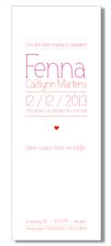 Geboortekaartje | letterpress  | 8 x 20 cm | 2 kleuren  | 'lettertype dun | meisje' vanaf