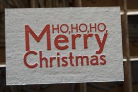 Kerstkaart | Ho ho ho Merry Christmas | 500 gram grijsbord | rood