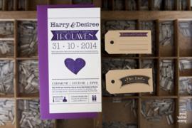 Trouwkaart | letterpress  | 10 x 20 cm | 1 kleur | 'Wij gaan trouwen | Harry & Desiree' vanaf