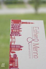 Trouwkaart | letterpress  | trouwstijl |  8 x 20 cm | 2  kleuren  | 'Skyline Amsterdam +Ijburg' vanaf