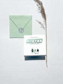 Geboortekaartje | letterpress  | 13 x 13 cm | 2 kleuren | 'Lego Robynn' vanaf