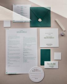 Trouwkaart | letterpress | trouwstijl | 13 x 13 cm | 1 kleur 2 drukgangen | 'Minimalistisch Portugal' vanaf