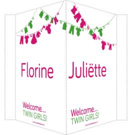 Geboortebord/ raambord | Tweeling waslijn meisjes | naam | roze/groen vanaf