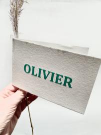 Geboortekaartje | letterpress  | 10 x 15cm |  Preeg  |  naam | Olivier' vanaf