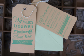 Trouwkaart labels | letterpress  | 7,5 x 15 cm | 1 kleur | Wij gaan trouwen Typografie  vanaf