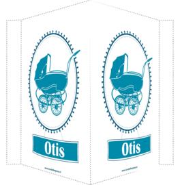 Geboortebord/ raambord | Vintage kinderwagen | petrol blauw vanaf
