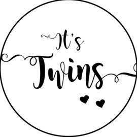 Geboorte sluitzegels | Tweeling | It's twins | wit/zwart