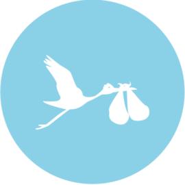 Geboorte sluitzegels | Tweeling | Ooievaar dicht | licht blauw