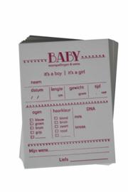 Babyshower | Baby voorspellingskaarten | meisje (set) | wit