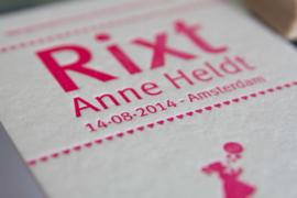 Geboortekaartje | letterpress  | 11 x 17 cm | 1 kleur | 'Bellenblaas zusje Rixt' vanaf