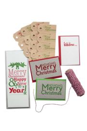 Kerstkaart en labels  | Set 'Feestdagen'  | rood/groen